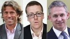 John Bishop, Frankie Boyle and Gary Lineker