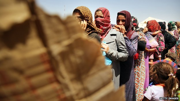 Desperate Iraqi women at the Khazair displacement camp on 30 June 2014 in Khazair, Iraq.