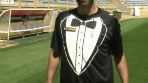 Football shirt that looks like a tuxedo