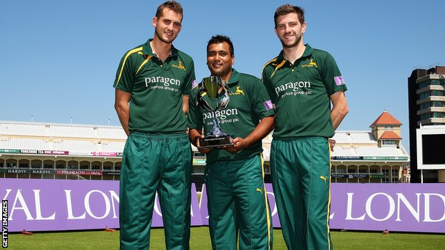 Alex Hales, Samit Patel and Harry Gurney