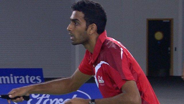 England's Rajiv Ouseph wins badminton rally