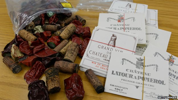 Corks, foil capsules and wine labels that were used as evidence in the trial of wine dealer Rudy Kurniawan are on display in Federal Court in New York on 19 December 2013