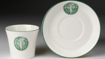 Bone china with emblem of Women's Social and Political Union (WSPU)