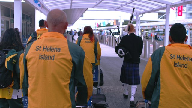 St Helena arrive at the Commonwealth Games