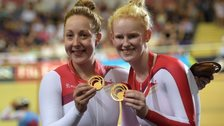 Helen Scott and Sophie Thornhill celebrate gold