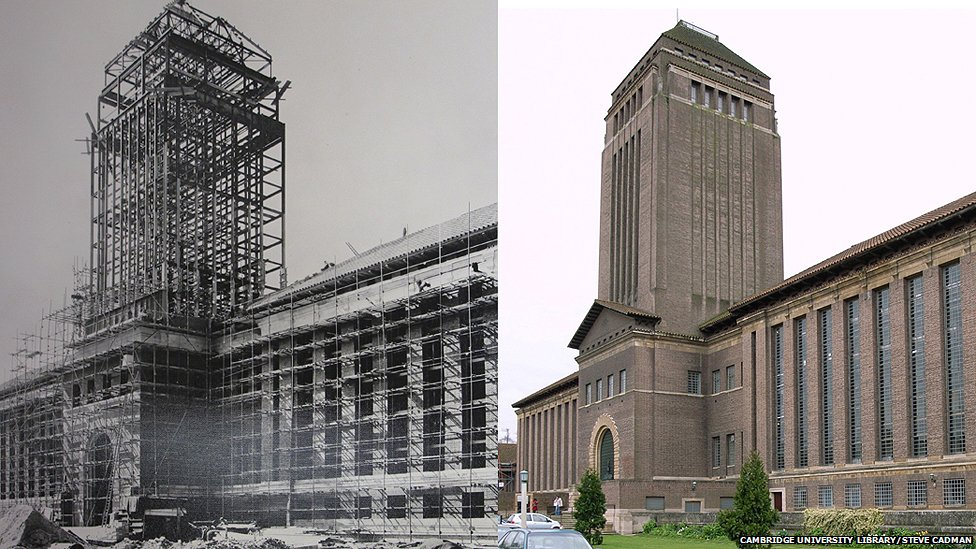 Tower construction at UL plus modern day image (right)