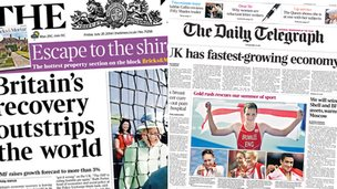 Composite image of Times and Telegraph front pages