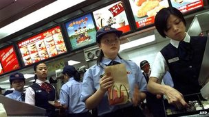 Employees at McDonald's outlet in Hong Kong