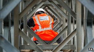 A Balfour Beatty workman on a construction site