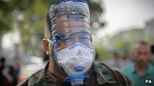 A protester in Turkey wearing an improvised gas mask