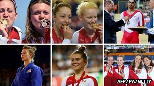 Team England stars collecting their medals
