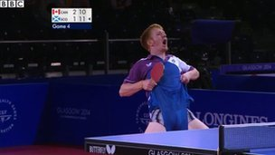 Gavin Rumgay celebrates in the table tennis