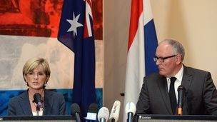 Australian Foreign Minister Julie Bishop (left) speaks during a joint press conference with Dutch Foreign Minister Frans Timmermans following a meeting in Kiev, Ukraine, 24 July 2014