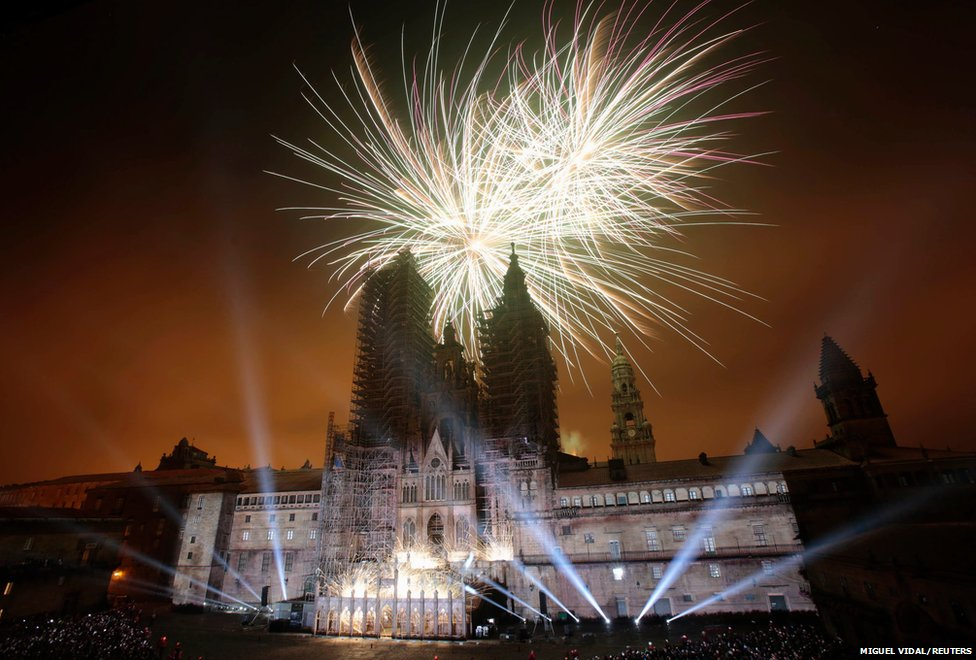 Fireworks explode during celebrations for St James' day in Santiago de Compostela, northwestern Spain