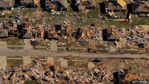 Tornado damage in Moore, Oklahoma, May 2013