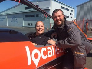 BBC Newcastle's Rebecca O'Neill with a pilot