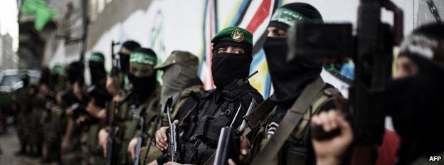 Members of Hamas's Qassam Brigades