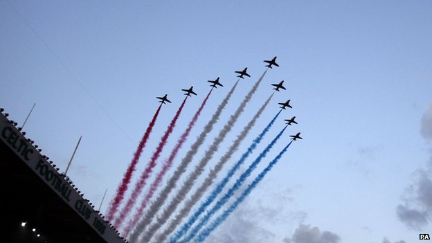 The Red Arrows at the Glasgow Commonwealth Games opening ceremony