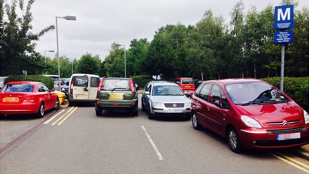 Cars parked on double yellow lines at Norfolk and Norwich University Hospital