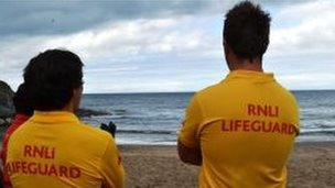 RNLI Lifeguards on Aberporth beach