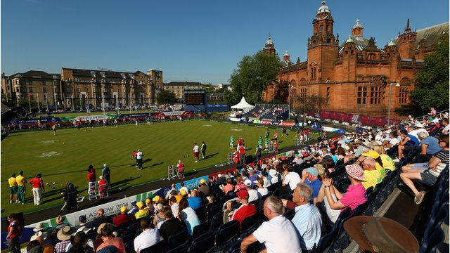 Kelvingrove Lawn Bowls Centre during day two of the Glasgow 2014 Commonwealth Games on July 25, 2014 in Glasgow