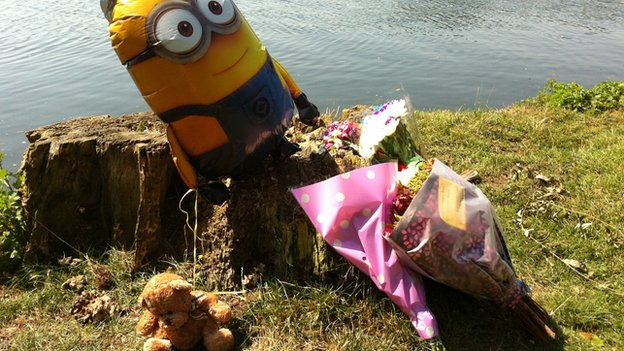 Tributes left on riverbank
