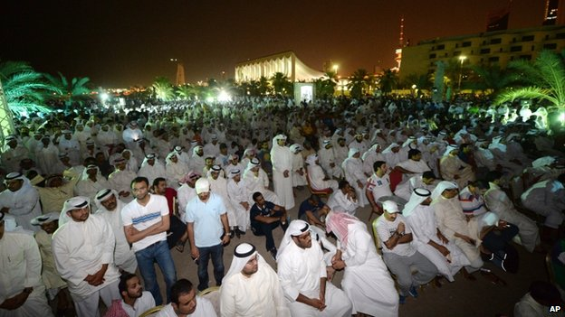 Kuwaiti citizens gather at al-Irada Square, Kuwait City during an anti-government protest