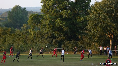 Alresford Town take on Winchester City in the FA Cup extra preliminary round in 2013