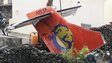 Part of the TransAsia plane which crashed in Taiwan