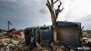 Aftermath of a tornado in Oklahoma