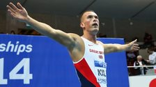Richard Kilty celebrates after becoming World Indoor Champion