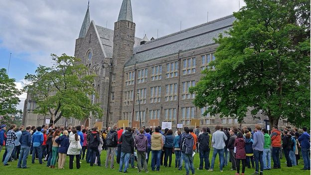A demonstration at Norway's University of Science and Technology in support of the Iranian students, June 2014