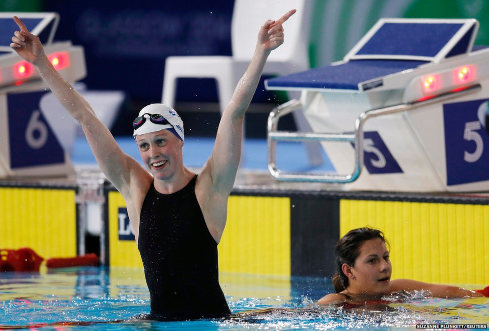 "Scotland's Hannah Miley (left) celebrates winning a gold medal in the women""s 400m Individual Medley"