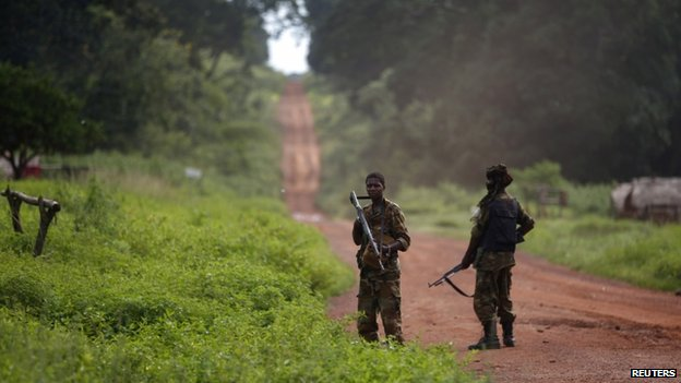 Seleka fighters stand in a village between Bambari and Grimari in CAR - 31 May 2014