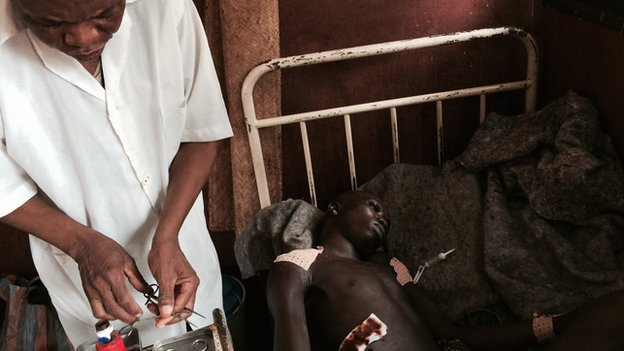 A patient being treated a Bambari University Hospital