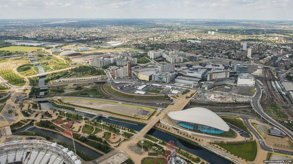 Queen Elizabeth Olympic Park showing the Aquatics Centre and Westfield Stratford.