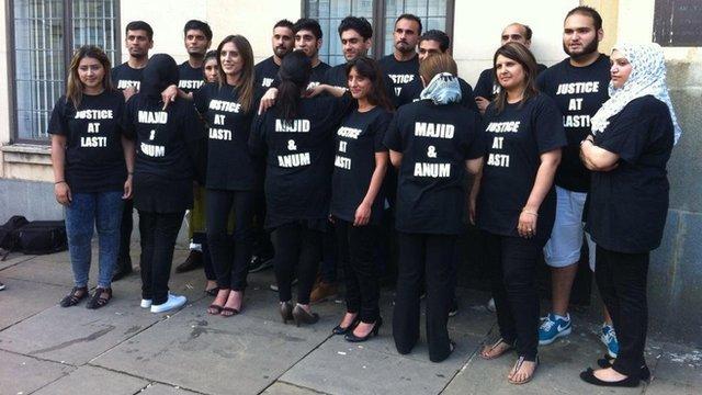 The Khan family outside court