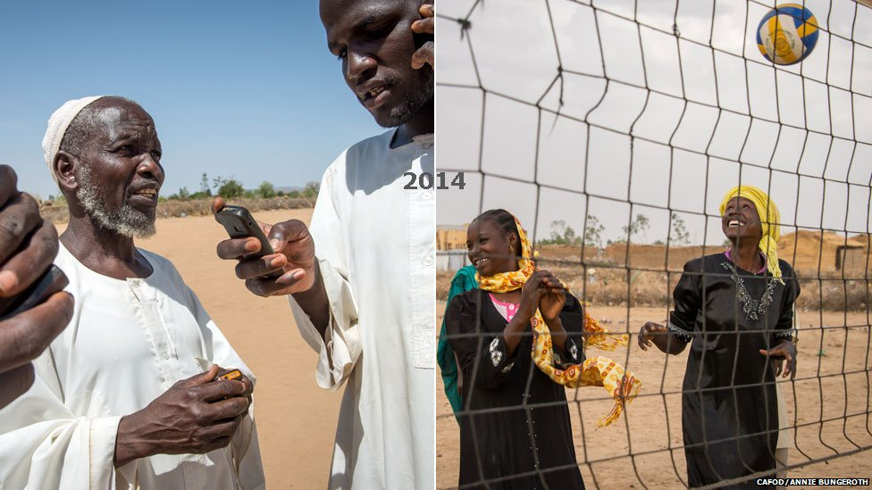 L: Sheikh (community leaders) on their phones on the outskirts of Hamadia camp in Darfur, Sudan R: Girls play volley ball in the grounds of a secondary school in Hamadia camp in Darfur, Sudan - both 2014