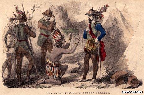 Inca Atahualpa before Pizarro