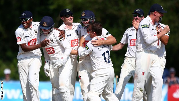 Chris Jordan (far left) celebrates with Sussex teammates after their win over Warwickshire