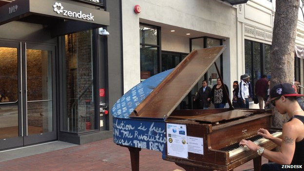 Zendesk has a piano outside its headquarters for passers by to play