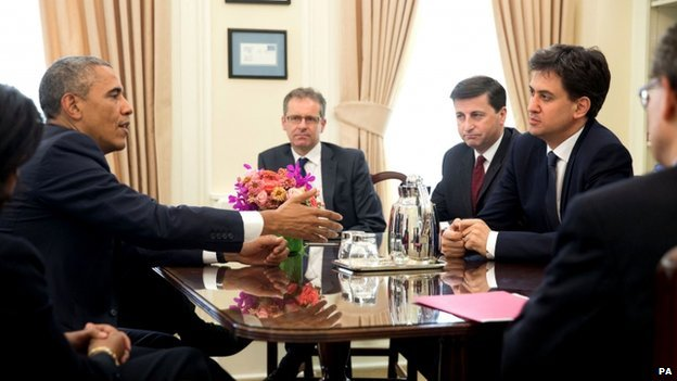 Ed Miliband meets president Obama