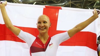 Joanna Rowsell celebrates winning Commonwealth Games gold