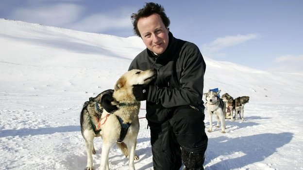 David Cameron with huskies