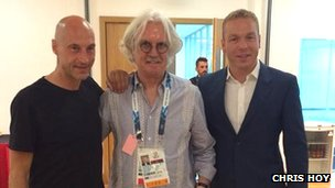 Chris Hoy with Graeme Obree and Billy Connolly
