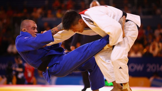 England judo player Danny Williams wins gold at the 2014 Commonwealth Games in Glasgow