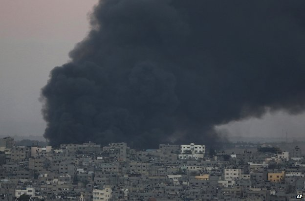 Smoke from an Israeli air strike on a target in Gaza, 25 July