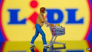 Lidl sign and model of man with trolley