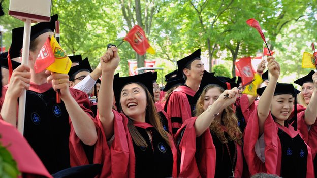 Harvard graduates celebrate at the 2013 commencement ceremonies.