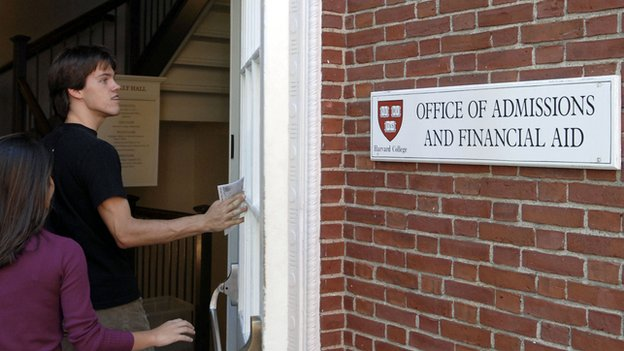 The door to the Harvard Office of Admissions and Financial Aid